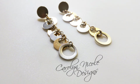 Silver and Gold Circle Earrings by Carolyn Nicole Designs