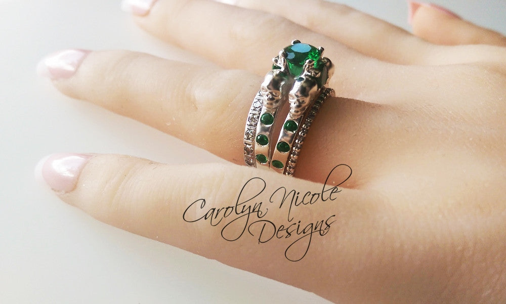 Emerald Skull Ring by Carolyn Nicole Designs