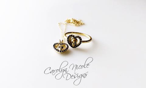 Skull Necklace with Black Diamonds (Sweet Heart)  by Carolyn Nicole Designs