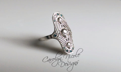 Art Deco Skull Ring (Blue and White) by Carolyn Nicole Designs