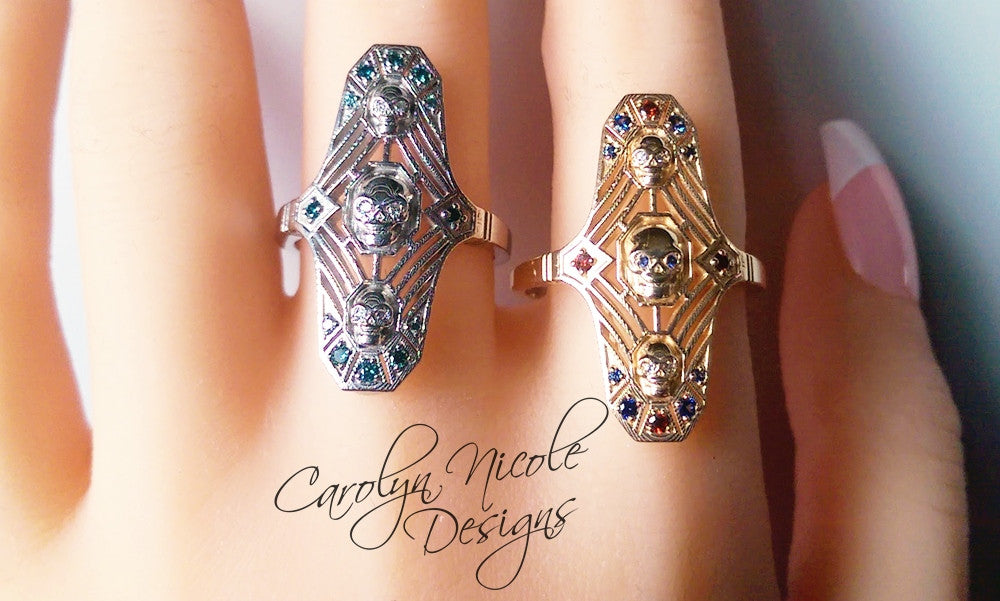 Art Deco Skull Ring by Carolyn Nicole Designs