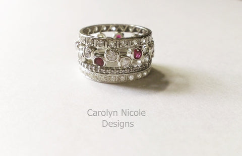 Sapphire and Ruby Bezel Prong Eternity Band by Carolyn Nicole Designs