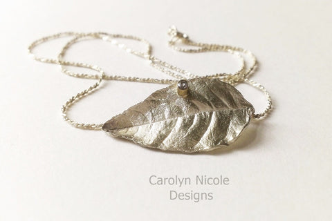 Sterling Silver and Blue Zircon Leaf Necklace by Carolyn Nicole Designs