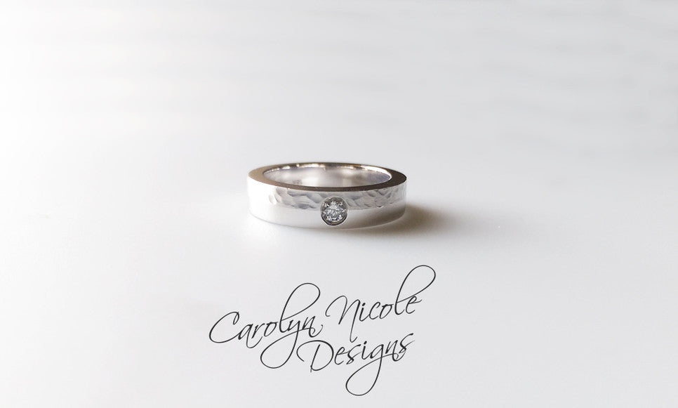 Hammered Textured Diamond Wedding Band by Carolyn Nicole Designs