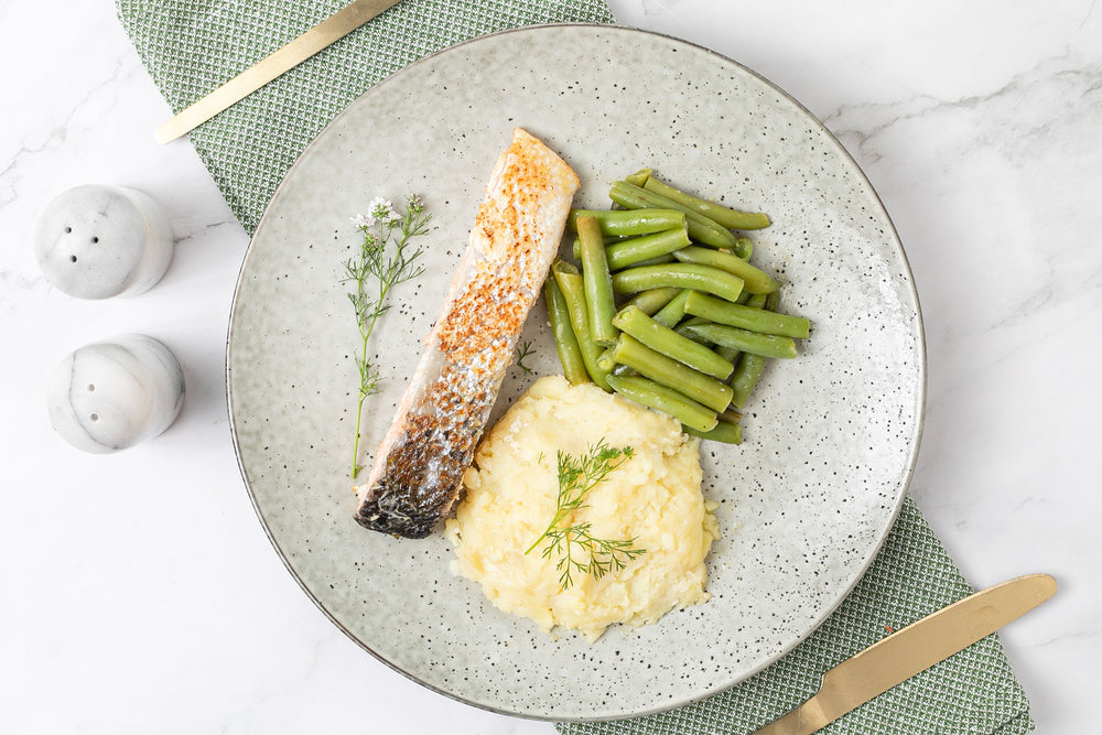 Atlantic salmon with thyme, mash potato and veggies