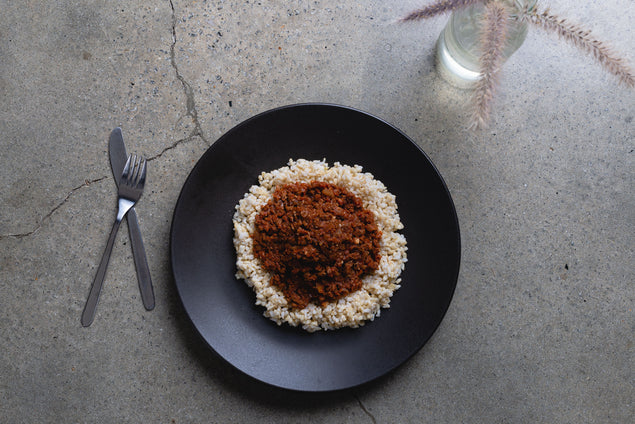 Plant based bolognese with kidney beans & steamed brown rice (V)