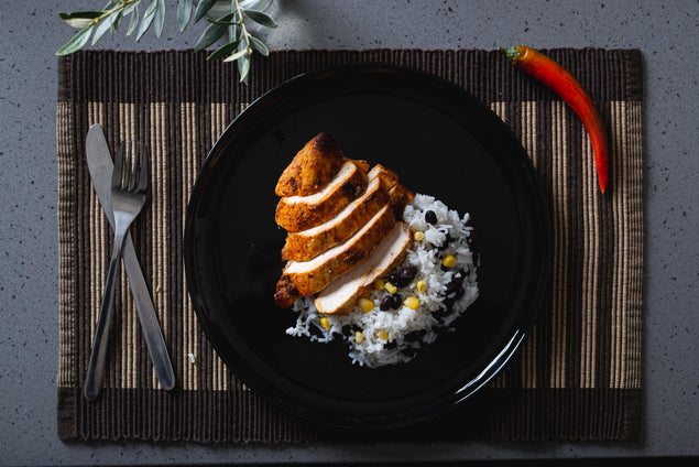 Chipotle glazed chicken & mixed bean rice