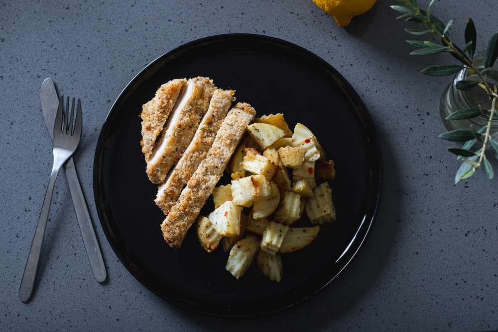 Lemon pepper crumbled chicken & roast potato