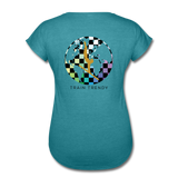 Women's Tri-Blend V-Neck Alley Oop Tee - heather turquoise