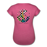 Women's Tri-Blend V-Neck Alley Oop Tee - heather raspberry