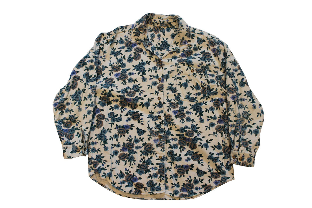 Flower Print Corduroy Button Up-NEWLIFE Clothing