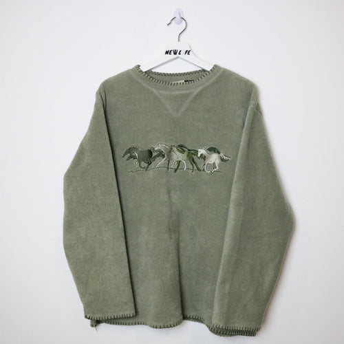 Vintage horse embroidered crewneck