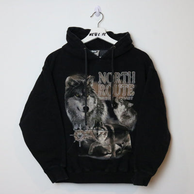 Vintage North Route Wolf Hoodie - M-NEWLIFE Clothing