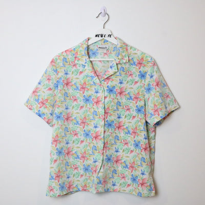 Vintage Floral Short Sleeve Button Up - M/L-NEWLIFE Clothing