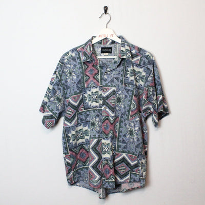 Vintage Aztec Print Short Sleeve Button Up - M/L-NEWLIFE Clothing