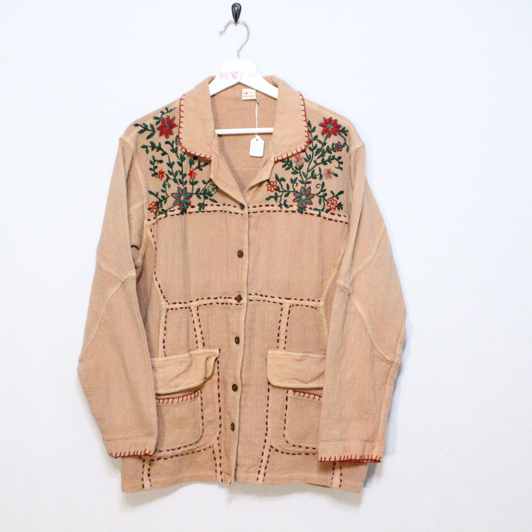 Vintage Jacket with Embroidered Flowers