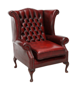 Chesterfield Leather Wing Back Chair Burgundy Chair