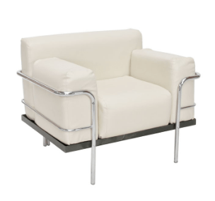 Corbousier Leather Armchair White Armchair