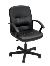 Slimline Leather Swivel Chair Black Chair