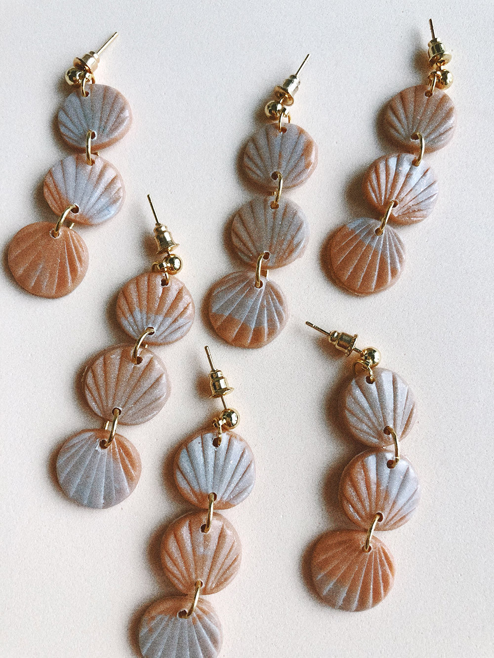 Alma Earrings in Peach Marble