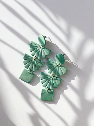 jade green shimmery color polymer clay earrings handmade with gold plated silver earring post