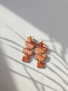 coral orange color polymer clay earrings handmade with gold plated silver earring post