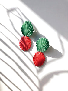 handmade earrings in pink and green color polymerclay