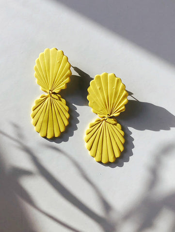handmade polymer clay earrings in matte yellow