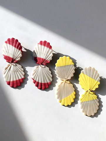 polymer clay earrings in pink and white stripes