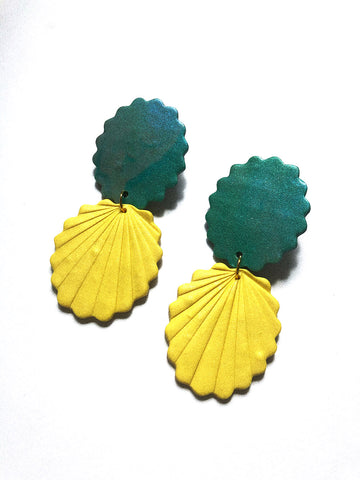 yellow matte and shimmery teal polymer clay earrings sea shell shape
