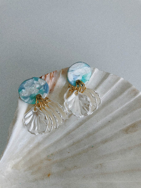 Tilla Earrings in Blue Marble