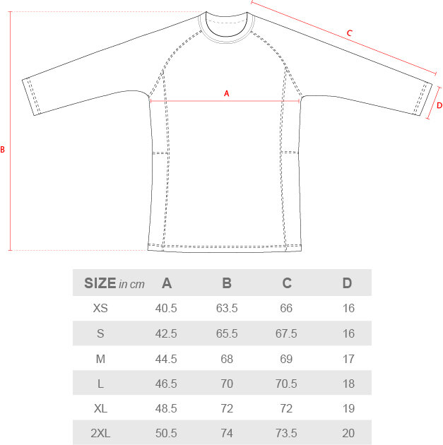 Size Guide Rash Guard Long Sleeve measurements