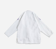 "Load image into Gallery viewer, white AbyVHTS ""GLARE"" Jacket is made with 450 GSM pearl weave Pants is made with 10 oz cotton twill Unique eyes embroidery design on the Jacket   vhts europe"