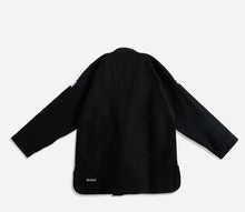 "Load image into Gallery viewer, black AbyVHTS ""GLARE"" Jacket is made with 450 GSM pearl weave Pants is made with 10 oz cotton twill Unique eyes embroidery design on the Jacket   vhts europe"