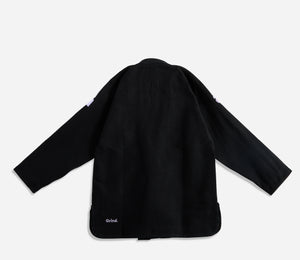 "black AbyVHTS ""GLARE"" Jacket is made with 450 GSM pearl weave Pants is made with 10 oz cotton twill Unique eyes embroidery design on the Jacket   vhts europe"