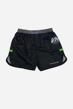 "Load image into Gallery viewer, brazilian jiu jitsu compression gear fight shorts vhtseurope vhtsny 2019 S/S Comp shorts 100% Polyester Tongue style Velcro closure (protecting skin) Elastic waist band Round side split Sublimated printing draw string Mouth guard pocket 7"" inseam   vhts europe"