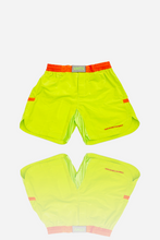 Load image into Gallery viewer, brazilian jiu jitsu compression gear vhtseurope vhtsny 2019 NEON GREEN COMBAT SHORTS 100 % NYLON Round waist draw string elastic waist band skin irritation protection velcro closing cover elastic gusset fabric round side split light weight   vhts europe