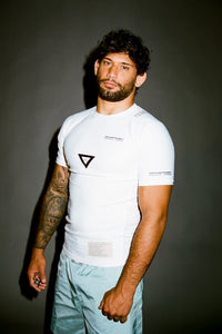 Ranked rash guard 2020 white  180 GSM  lycra x polyester  Side ventilation system (Mesh fabric)  Matheus Diniz  vhts europe