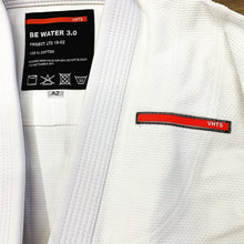 Load image into Gallery viewer, BE WATER 3.0 white THIS IS THIRD DESIGN OF BE WATER KIMONO SERIES NEW DESIGN CAME OUT GREAT MAINTAINING ORIGINAL DESIGN CONCEPT YET INTRODUCING MODERN CUT WITH EDGY AND HIGH QUALITY PATCHES AND LABELS. JACKET: 450 GSM PEARL WEAVE EVA FOAM LAPEL WIDE REINFORCEMENT TAPE ROUND SIDE SLIT FINISH RUBBER LABEL PANTS: 11 OZ COTTON RIP STOP 6 BELT LOOP SYSTEM ROUND DRAW STRING RAISED BACK WIDE REINFORCEMENT TAPE RUBBER LABEL vhts europe
