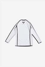 Load image into Gallery viewer, white nogi compression gear jiujitsu F/W 19 RANKED RASH GUARD LONG SLEEVES 220 GSM Polyester X Lycra Side ventilation panel Cool MAX Unique and Minimalistic design with clean logos vhts europe