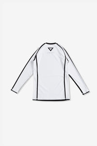 white nogi compression gear jiujitsu F/W 19 RANKED RASH GUARD LONG SLEEVES 220 GSM Polyester X Lycra Side ventilation panel Cool MAX Unique and Minimalistic design with clean logos vhts europe