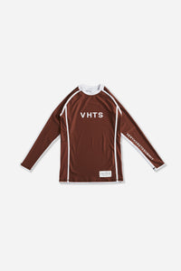 brown nogi compression gear jiujitsu F/W 19 RANKED RASH GUARD LONG SLEEVES 220 GSM Polyester X Lycra Side ventilation panel Cool MAX Unique and Minimalistic design with clean logos vhts europe