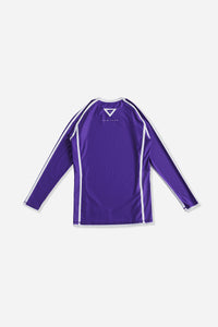 purple nogi compression gear jiujitsu F/W 19 RANKED RASH GUARD LONG SLEEVES 220 GSM Polyester X Lycra Side ventilation panel Cool MAX Unique and Minimalistic design with clean logos vhts europe