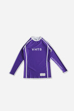 Load image into Gallery viewer, purple nogi compression gear jiujitsu F/W 19 RANKED RASH GUARD LONG SLEEVES 220 GSM Polyester X Lycra Side ventilation panel Cool MAX Unique and Minimalistic design with clean logos vhts europe