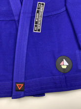Load image into Gallery viewer, BE WATER 3.0  blue THIS IS THIRD DESIGN OF BE WATER KIMONO SERIES NEW DESIGN CAME OUT GREAT MAINTAINING ORIGINAL DESIGN CONCEPT YET INTRODUCING MODERN CUT WITH EDGY AND HIGH QUALITY PATCHES AND LABELS. JACKET: 450 GSM PEARL WEAVE EVA FOAM LAPEL WIDE REINFORCEMENT TAPE ROUND SIDE SLIT FINISH RUBBER LABEL PANTS: 11 OZ COTTON RIP STOP 6 BELT LOOP SYSTEM ROUND DRAW STRING RAISED BACK WIDE REINFORCEMENT TAPE RUBBER LABEL vhts europe