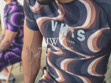 Load image into Gallery viewer, IWAYA X VHTS Collab Kinetic short sleeve rash guard Polyester 80% x Lycra 20% Sublimation printing Reflective heat press vinyl vhts europe