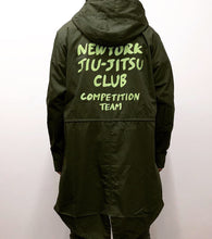 Load image into Gallery viewer, brazilian jiu jitsu apparel vhtseurope vhtsny designer jacket green print NYJJC MOD COAT This MOD coat is perfect for stormy and windy situation. Brushed hand painting style logo adds fun in the design.  vhts europe veryhardtosubmit