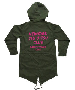 brazilian jiu jitsu apparel vhtseurope vhtsny designer jacket pink print NYJJC MOD COAT This MOD coat is perfect for stormy and windy situation. Brushed hand painting style logo adds fun in the design.  vhts europe veryhardtosubmit