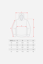 "Load image into Gallery viewer, ""VHTS JJC"" OVERSIZED HOODIE size guide This product is perfect for on and off the mat. It will keep you warm at the competition and add style on the way for training.  385 GSM Cotton Puff Print  vhts europe"