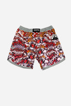 Load image into Gallery viewer, Trippy Tiger combat shorts This shorts is collaborative product between VHTS and graphic artist Voja based in Slovenia.  His creative and embellishing graphic art style is well reflected on the shorts. Tiger themed graphic is eye-catching and visually intense.  Feature  4 way stretch soft fabric (80% polyester x 20% lycra)  Flat draw string with plastic dip tip  Mouth guard pocket  Sublimation printing technique  Curved side opening  Elastic waist band  Velcro closing    vhts europe